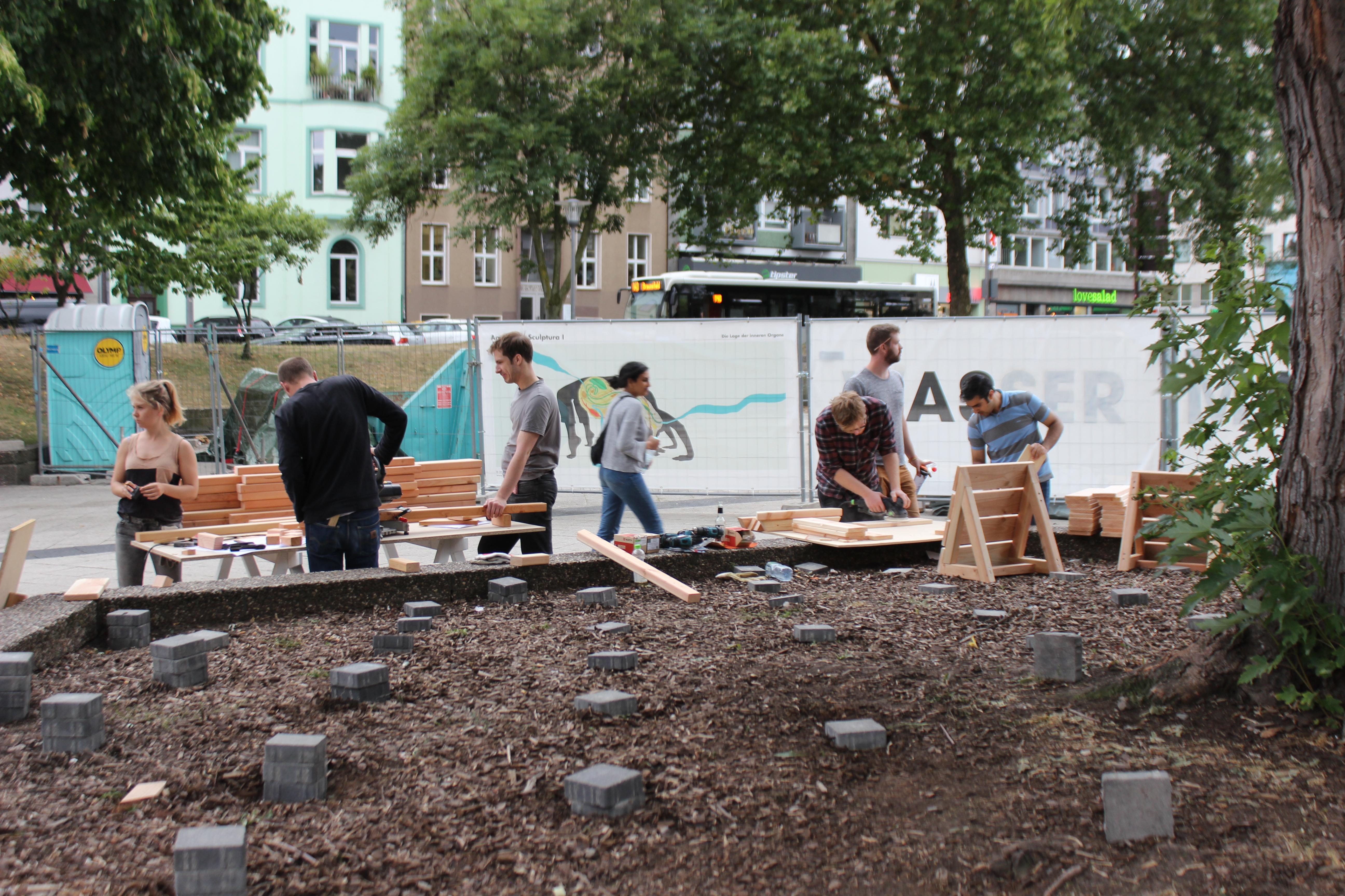 Selbstbauprojekt RWTH Aachen, Ebertplatz, Juli 2018, Foto: Helle Habenicht