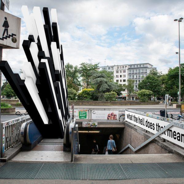 Gatecrash von Sandy Craus und Sebastian Hahn, Rolltreppenausschreibung Ebertplatz, August 2018