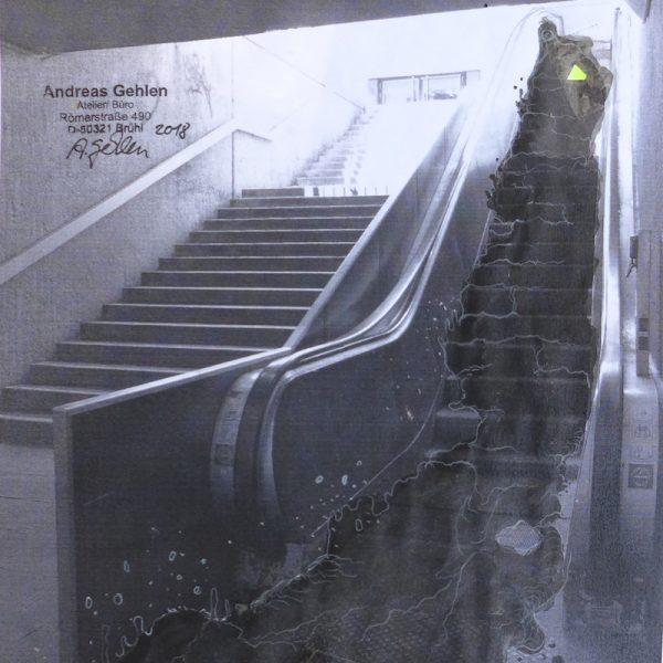 muddy moves von Andreas Gehlen und Maria WIldeis, Rolltreppenausschreibung Ebertplatz, August 2018
