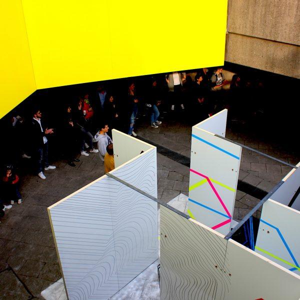 Installation Perspektivwechsel, Ebertplatzpassage April 2019, Foto: Helle Habenicht